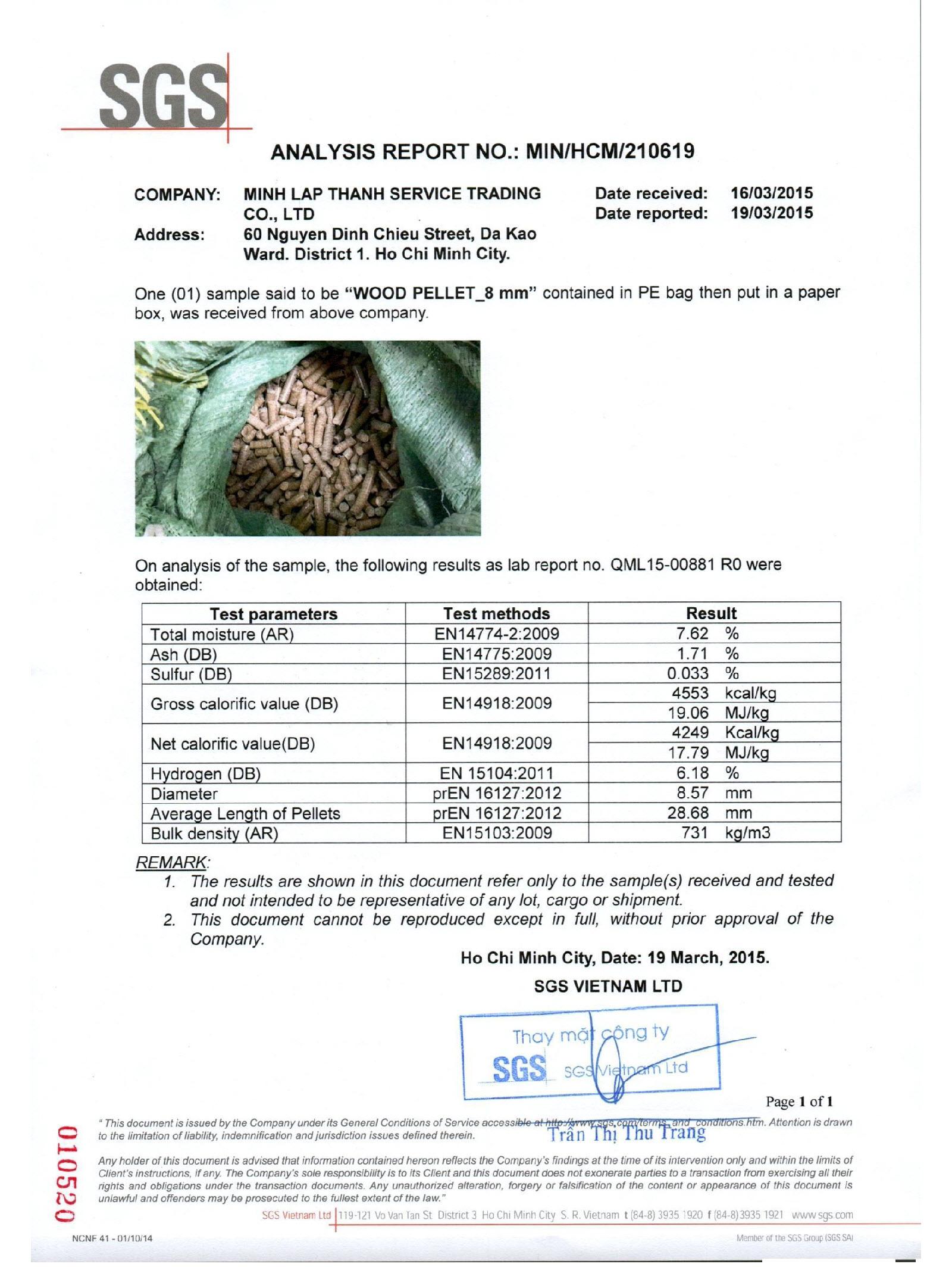 Test SGS of wood pellets